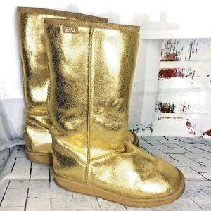 EMU Australia Suede Sheep Wool Metallic Gold Boot